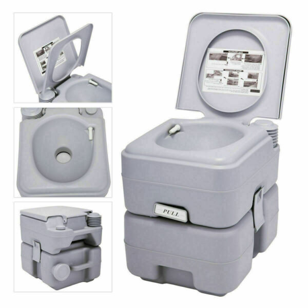 5 Gallon 20L Portable Toilet Flush Travel Camping Commode Potty Outdoor Indoor $60.49