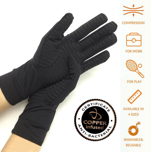 Cold Hand Hot Gloves Full Length Copper for Arthritis Fits All Lifestyles Pair