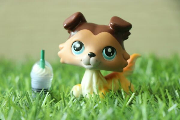 LPS Collie 58 Yellow Brown Pet Shop Dog Doll Collection Figure Toy