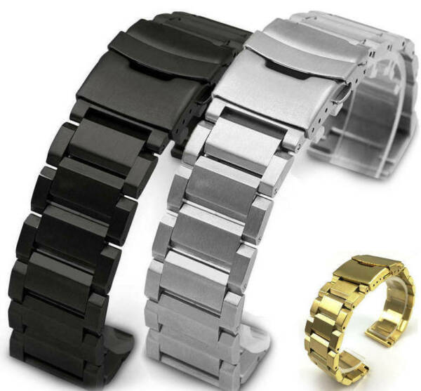 Stainless Steel 25mm Metal Replacement Watch Band Strap Double Locking Clasp #25 $24.95