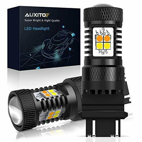 AUXITO White and Amber Dual Color Switchback 3157 3155 3457 4157 LED Bulbs with