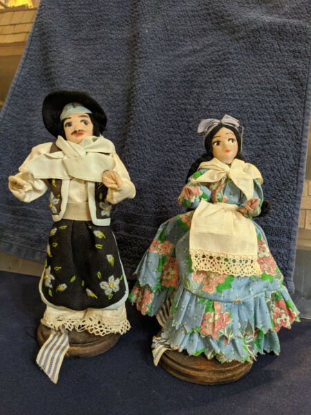 Pair Set South Central America Foreign Dolls Man Woman Basa Schiavo Montevideo