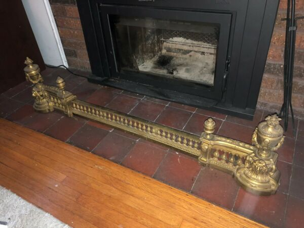 Antique Fender Andirons fireplace Set possibly France lion grate brass bronze