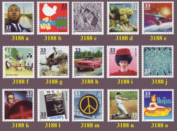 Celebrate the Century 1960's 33¢ U. S. Stamps #3188 - Your Choice - MNH