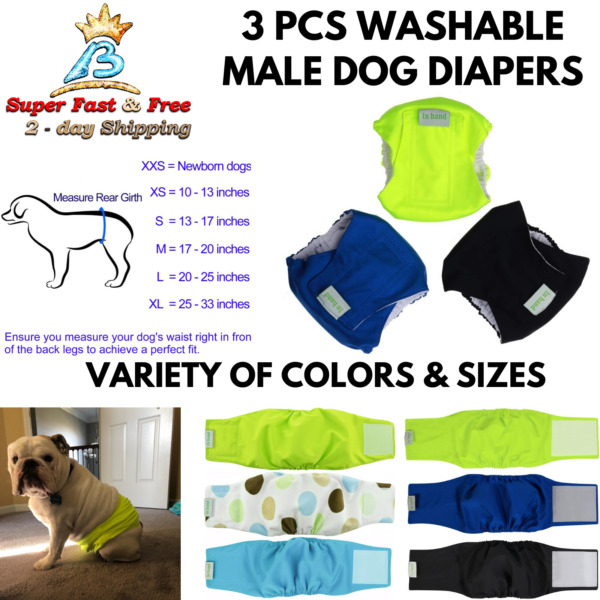 Reusable Male Dog Belly Bands Set Leak Proof Diaper Dogs Absorbent Pad Wraps 3pc $20.47