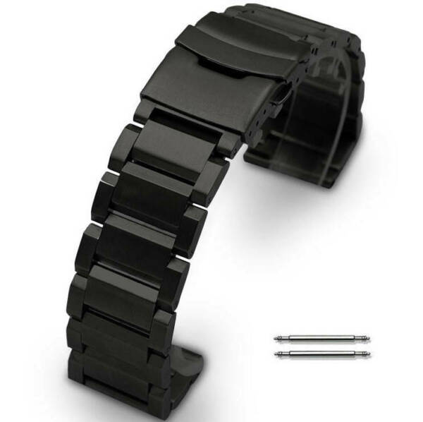 Black Stainless Steel Metal 23 mm Watch Band Strap Luminox Double Locking Buckle