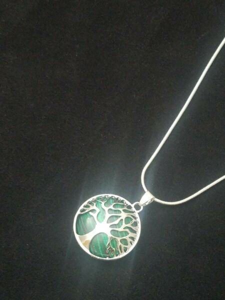 Malachite Tree of Life Necklace SilverStone Pendant on Sterling Silver Chain