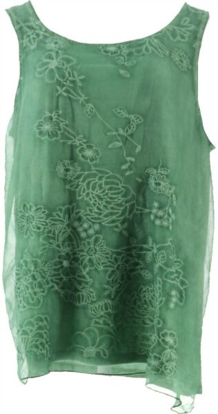 Curations Embroidered Tank GREEN XL NEW 688 954