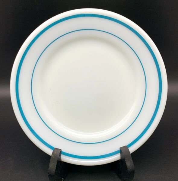 Pyrex Tableware by Corning Plate with Blue Bands 6 3 4 Inch diameter