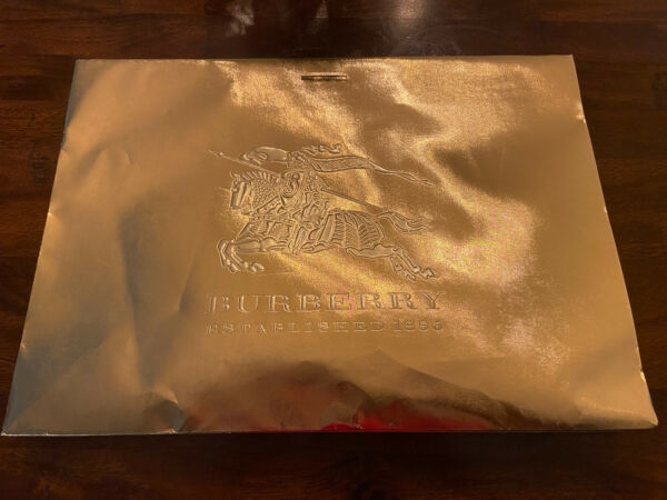 Gold Burberry Gift Shopping Bag With Receipt Holder $9.99