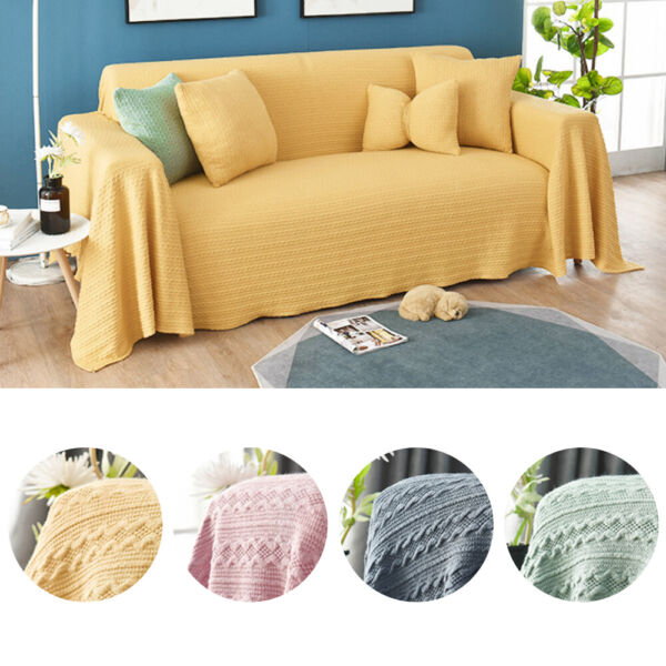 1 2 3 4 Seater Knitted Solid Sofa Cover Universal All Inclusive Sofa Couch Cover $19.99