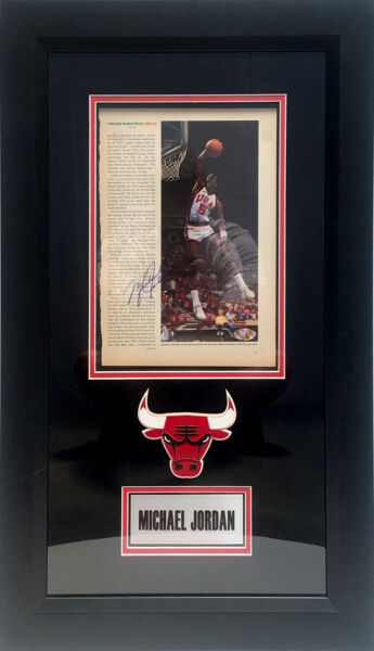 Michael Jordan Signed Magazine Photo Framed Chicago Bull JSA Last Dance Team USA