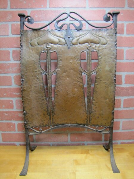 Antique Arts & Crafts Fireplace Screen Hammered Copper Wrought Iron Exquisite