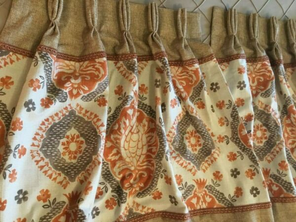 4 Pinch Pleated Drape Curtain Panels Lined MidCentury Country Burlap 30-118-32