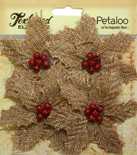 BURLAP Textured FABRIC Poinsettias NATURAL Red Centre x 4 flower Pk 70mm Petaloo