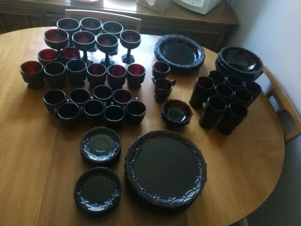 67 Piece Set of Avon Ruby Red Dishes Plates Glasses Sugar Creamer bowls saucers $400.00