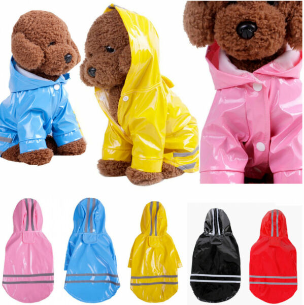 Dog Cat Reflective Raincoat Pet Waterproof Dog Coat Jacket Rain Hoodie Jacket $8.99