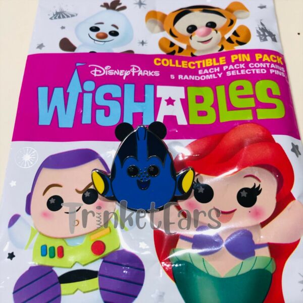 Disney Parks Wishables Pin Pack Wishable Finding Nemo Dory Pin In Hand