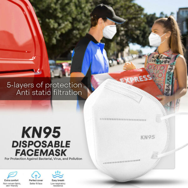 KN95 Protective Face Mask 100 PC 5 Layer PM2.5 95% Disposable Respirator Cover