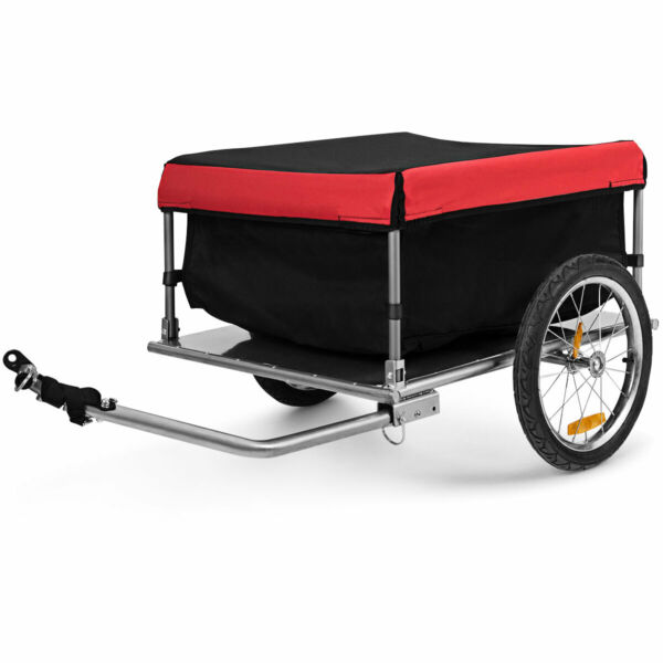 Bike Cargo Luggage Trailer w Folding Tool amp; Quick Release Wheels Red Black $129.49