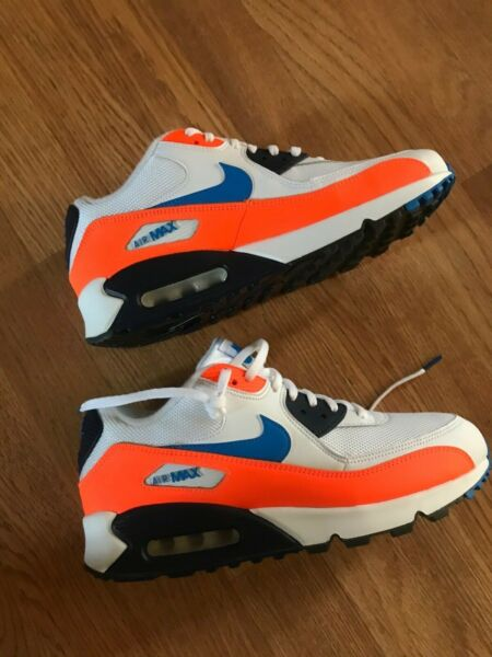 Nike Air Max 90 Essential White-Blue-Orange Size 11 Mens Running Shoes Nice