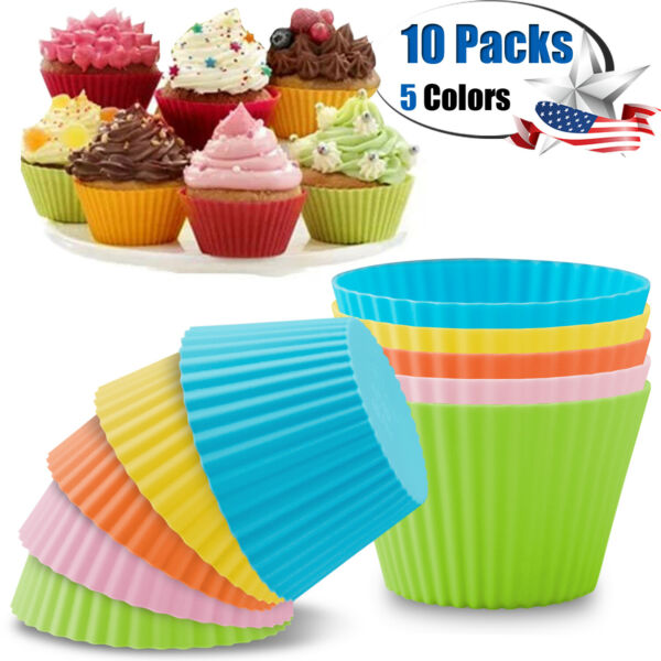 10 pcs Silicone Baking Cups Reusable Muffin Dessert Cookie Cupcake Liner Molds