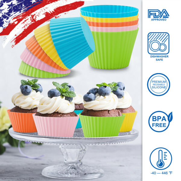 10 50 pcs Silicone Baking Cups Reusable Muffin Dessert Mould Cupcake Liner Molds