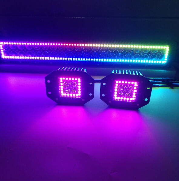 42inch Led Work light Bar + 2x Flush Mount PODS w RGB Halo Color Change Chasing