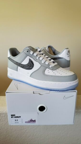 NEW Nike Air Force 1 One Low Custom By You customs white grey snakeskin 8.5
