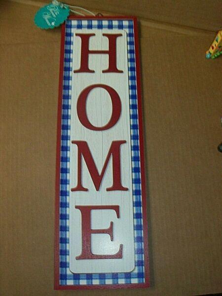 The PIONEER WOMAN 20quot; Vertical HOME Plaque Blue Gingham Check $22.75