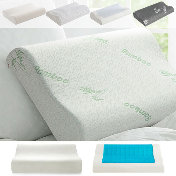 Memory Foam Pillow Cooling Gel Orthopedic Breathable Bed Pillow W Washable Case $18.98