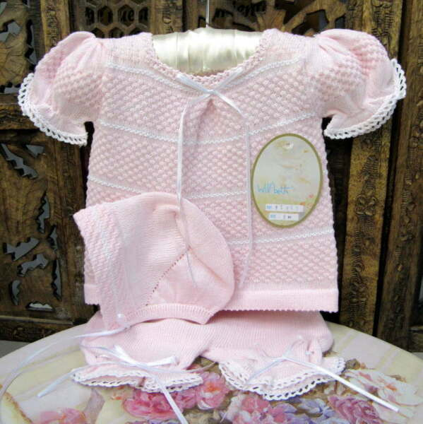 Will'beth NWT Newborn Preemie Baby Girl Pink Knit Set Bonnet Take-Me-Home Dolls