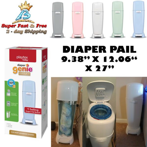 Diaper Pail With Odor Control Antimicrobial Double Plastic 8.14 Lbs 270 Diapers