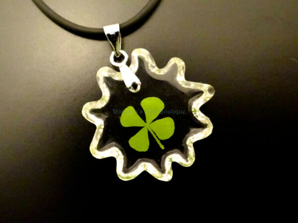 Real four leaf clover pendant with cute sun shape cord 19