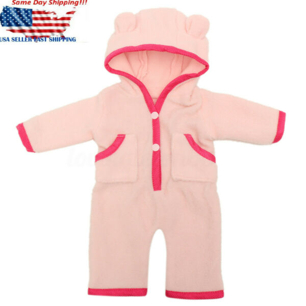 18'' Pink Hooded Nightwear Doll Clothes Newborn Baby Girl Dolls Pajamas Gift