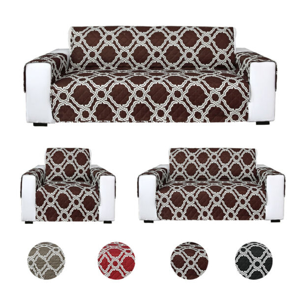Printed Sofa Slipcover Quilted Couch Cover Loveseat Furniture Pet Dog Protector $15.68
