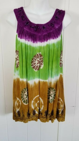ZURIET BY HANS FREE SIZE MULTICOLOR EMBROIDERED BEADED SLEEVELESS WOMEN#x27;S TOP