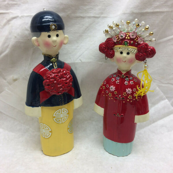 2 Vintage Statue Dolls Asian Man and Lady Chinese Symbol Good Luck