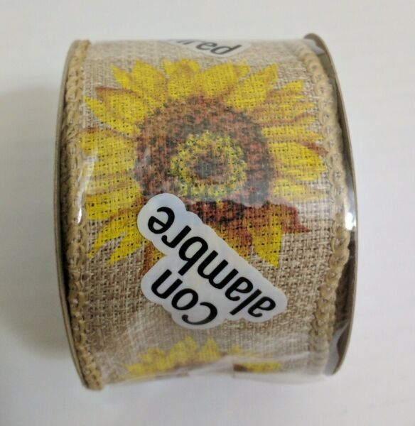 Lot 4 SUNFLOWER Ribbon 2quot; x 3 YD Wired Edge Farmhouse COUNTRY Rustic Burlap Like