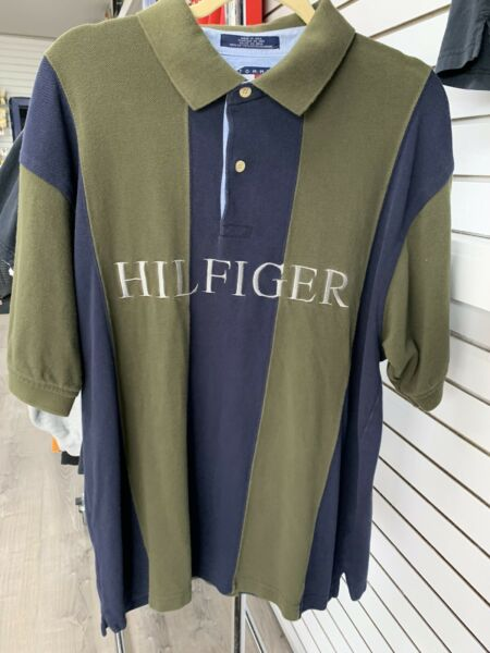 Vintage Tommy Hilfiger Polo Shirt Crest Logo strip two buttons Tommy Mens XL $26.00