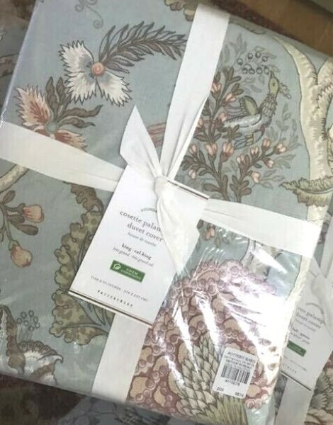 Pottery Barn Cosette Duvet Cover Blue King Palampore Floral No Shams $128.18