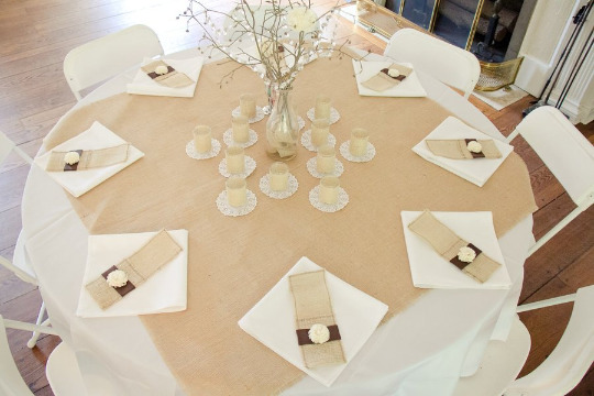 100% Jute Burlap Overlay 72 × 72 Burlap Tablecloths Hem or With Fringe