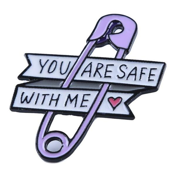 You Are Safe With Me Heart Safety Clothing Brooch Pin Unisex Casual Gift Bag N3 $6.02