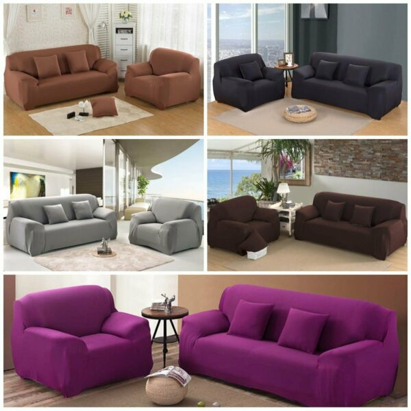 1 2 3 Seater Stretch Elastic Sofa Covers Slipcover Couch Cover Chair Protector $20.98