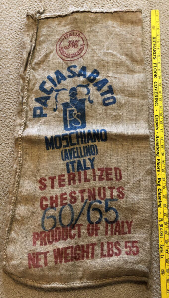 Vintage 55 Lb Paciasabato Burlap Sack Of Chestnuts Product Of Italy