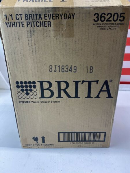 Brita 10c Everyday BPA Free Water Pitcher Acrylic White With 3 Filters