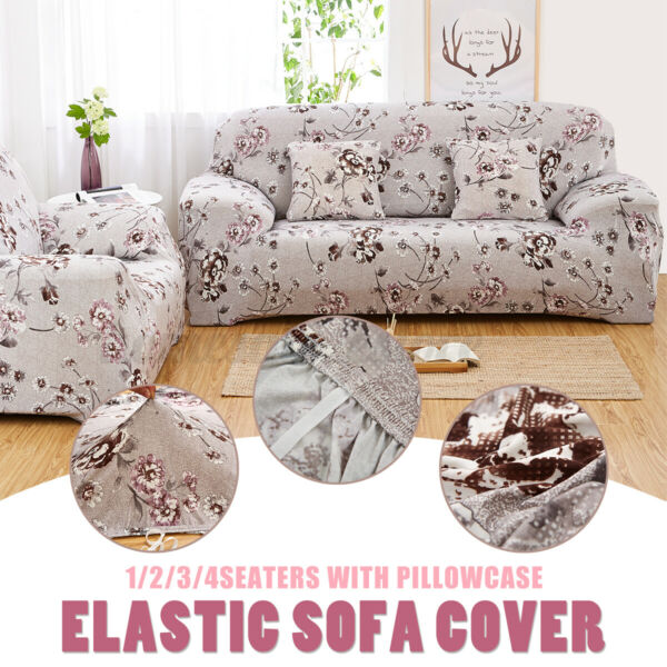 Sofa Lounge Cover Floral 1 2 3 4 Seater Slipcover Easy Stretch Couch Protector $24.85