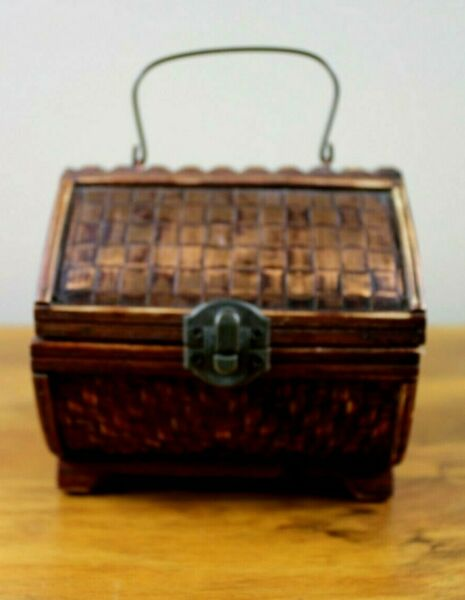 Vintage Wooden Storage Stash Trinket Box With Copper Top
