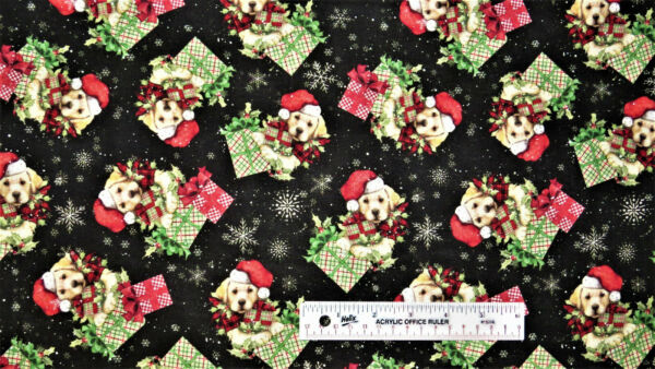 Susan Winget Puppy Presents on Black Dog Dogs Christmas Cotton Fabric BTY A $10.99