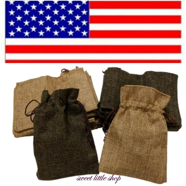 4x5quot; Drawstring Burlap Wedding Favor Bags Natural Jewelry Pouches Jute Gift Bag